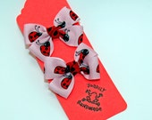 Pink and Red Ladybug Pigtail Hair Bow Set