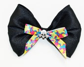 Rhine stone punk rock skull embellished bow with crazy star ribbon