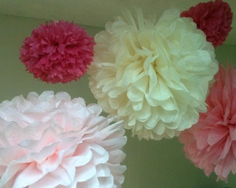 8 Tissue Paper Pom Poms-- ChooseYour Colors-- Wedding/ Nursery/ Baby Shower/ Graduation Decorations