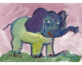 Friendly elephant original painting 5x7 pink yellow purple