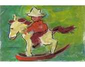Original painting Calvin Rides His Rocking Horse green 4x6