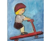 Ben's New Scooter original painting children Blue Red 7x5