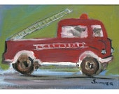 Frankie the Fearless Fire Truck original painting whimsical children 5x7