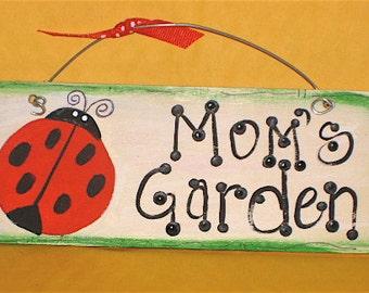 LADYBUG Nana's GARDEN Wood Sign Handpainted by Meg Sister Auntie, Mom, Grandma