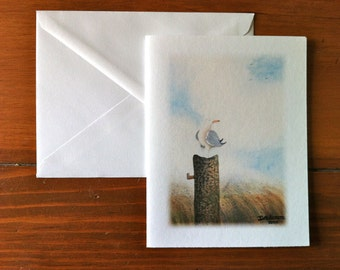Seagull on a Piling - Greeting Card - (Blank Inside)