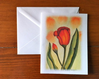 Red-Orange Tulip Study - Greeting Card - (Blank Inside)