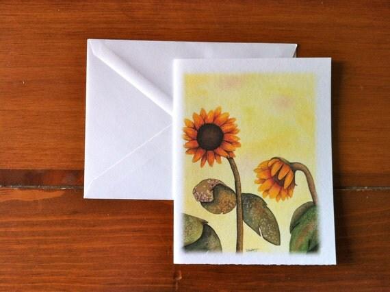 Yellow Sunflowers - Greeting Card - Scene 1 (Blank Inside)