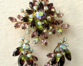 Stunning Vivid Vintage Brooch and Earring Set