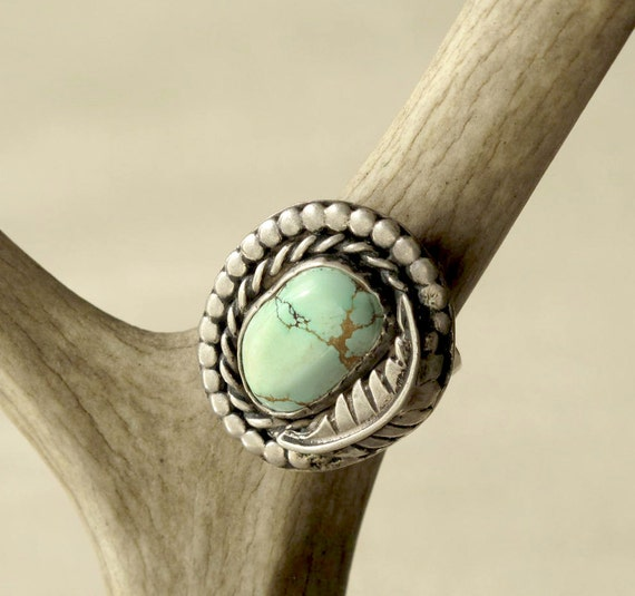 Mega Pale Turquoise and Silver Ring