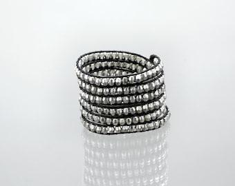 Silver bead wrap bracelet on black leather