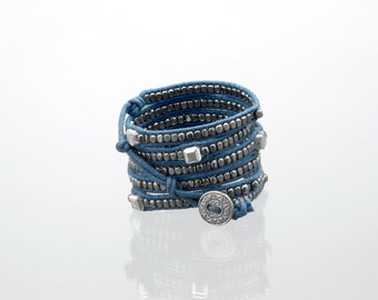 Wrap bracelet with a combination of gunmetal beads & square silver beads