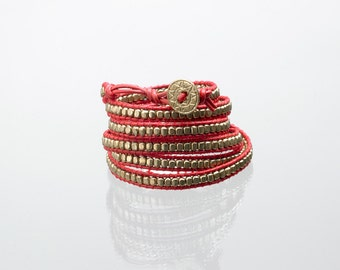 Red leather wrap bracelet with gold beads