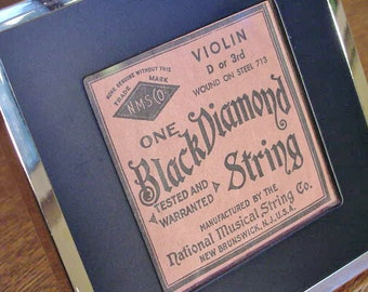 VINTAGE Black Diamond Violin String Framed NICE 1960s