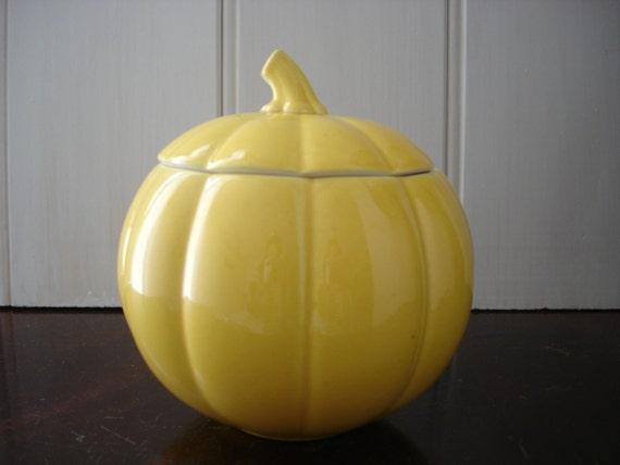 Vintage Sugar Bowl - Yellow Ceramic Gourd Sugar Bowl/ Condiment Pot