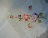 Vintage White Handkerchiefs with Embroidered Flowers Unused set of 3