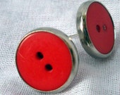Red Vintage EArrings button Silver Posts REtro 80s Crimson Cherry