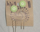 Mandala Button Hairpins Set of 2 Hair Stick Vintage Looking Spring Mothers Day Light Green