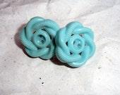 Vintage Button Earrings, Aqua Blue, Turquoise, Celtic Knot Pattern