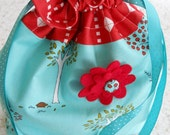 Cotton Drawstring lined Scrunch Bag Fabric by Moda Little Apples by Aneela Hoey  FREE SHIPPING