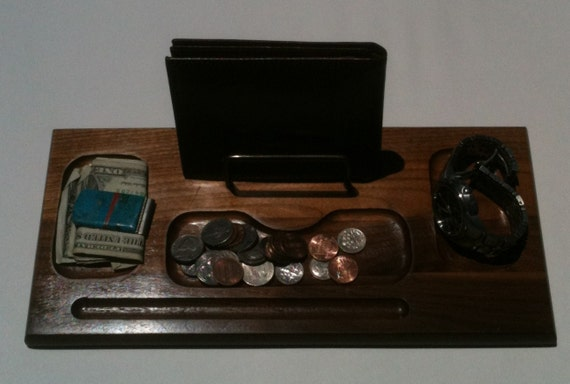 Vintage Solid Wood Valet, Cell Phone, Keys, Wallet, Spare Change Storage