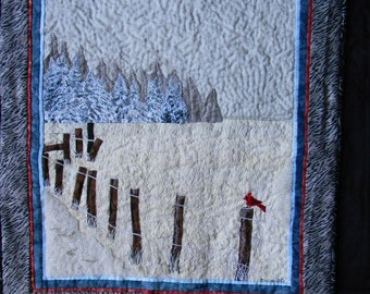 A Cold Winters Day, Fiber Art Winter Time Landscape Scene, Handmade Wall Hanging Art Quilt
