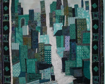 City of Chicago in the Summer, Appliqued Monochromatic Art Quilt of City Scenery, Handmade Wall Hanging Art Quilt