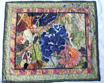 The Vineyard at First Frost, Fiber Art, Appliqued Landscaped Scene of Grapes on a Vine in the Winter, Handmade Wall Hanging Art Quilt