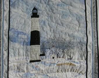 Big Sable Point Lighthouse, Ludington, Michigan, Fiber Art Appliqued Landscape Scene, Handmade Wall Hanging Art Quilt