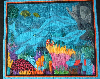 Under the Sea, A Fiber Art Picture of a Water Nature Scene of Marine Life, Handmade Wall Hanging Art Quilt