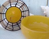 Vintage Trinket Box Yellow Glass 1950s Retro Beach Cottage Chic