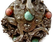 Vintage Art Nouveau Brooch Silver lizards and gem stones