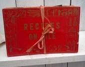 Vintage Recipe Box File 1950s  Retro Red Kitchen Decor