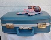 Vintage Blue Suitcase Luggage Storage Solutions Baby Blue Vinyl 1960's