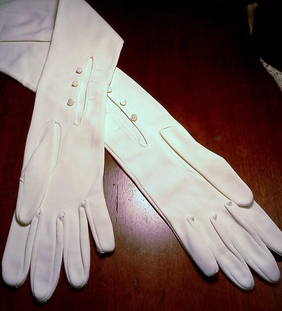 Vintage Opera Gloves Long White Pearl Button Opera Gloves