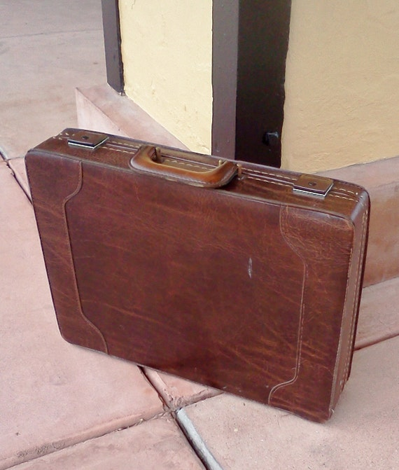 Vintage Brown briefcase 1970's Geek Mad Men attache case Father's Day Gift