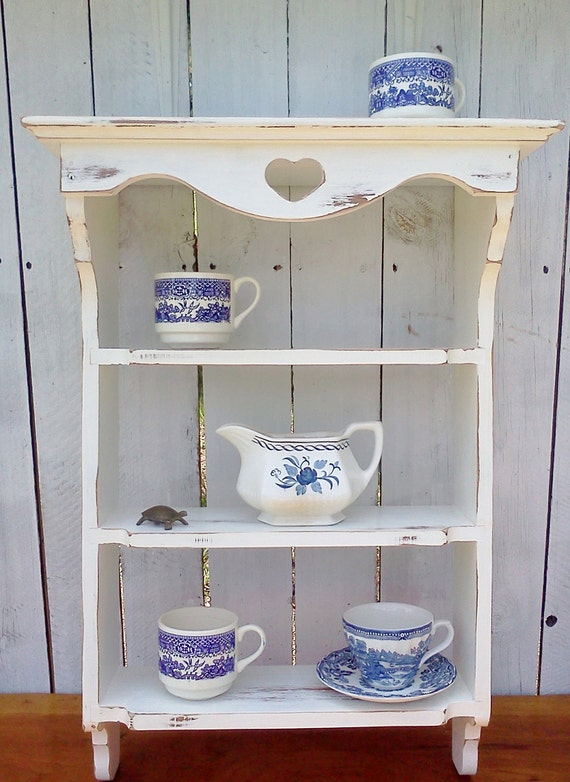 Shabby Cottage Chic Shelf Shelves furniture Storage Display French Chippy White painted