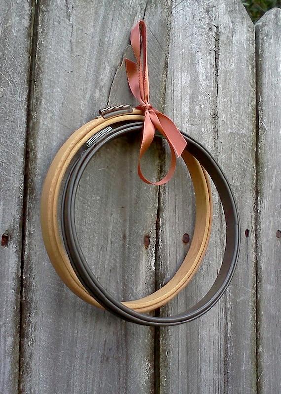 Vintage Embroidery Hoops Metal And Wood 2 Hoops