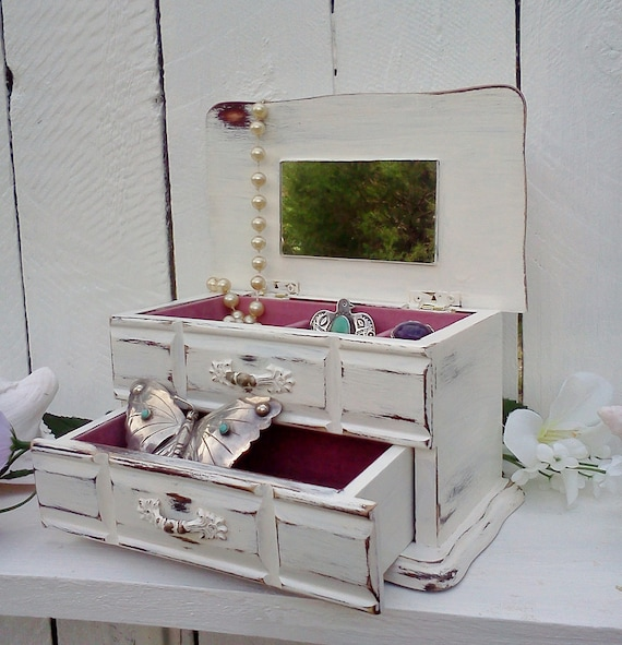 Shabby Chic Jewelry Box Upcycled Chippy Cottage Chic Vintage box