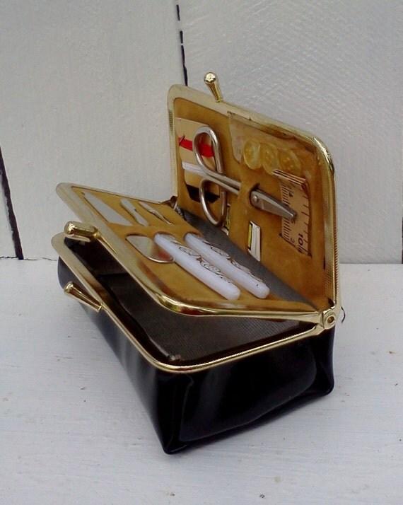 Vintage Travel Sewing Kit Manicure Set Case Kiss Lock Black Patent faux Leather