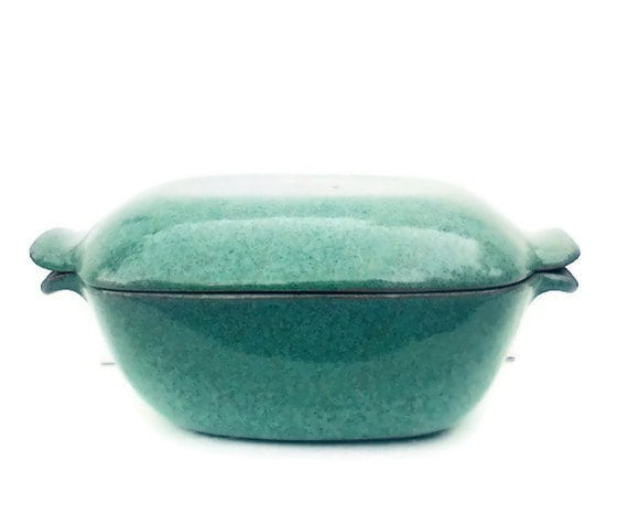 Glidden Green Turquoise Dish 165 Mid Century Modern Pottery