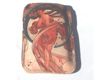 Printed leather Iphone, Ipod, Blackberry, Android, Samsung, Smartphone Case with Mucha print