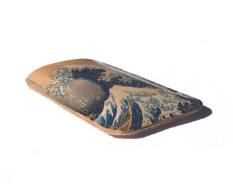 Printed leather Iphone, Ipod, Blackberry, Android, Samsung, Smartphone Case with a Katsushika Hokusai print