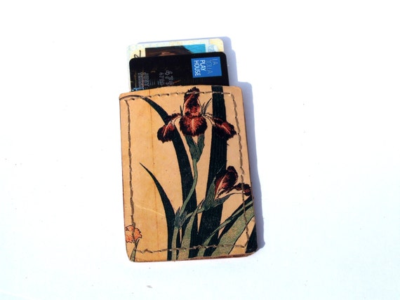 Printed Leather card case, business card holder, metro card holder, bus pass case, id case