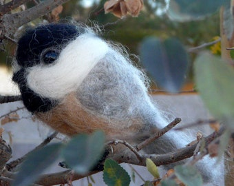 needle felted chickadee soft sculpture -made to order