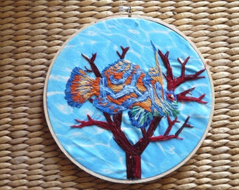 Hand Embroidered Mandarin Goby Hoop