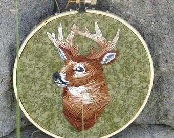 "Buck hand embroidered wall art hoop 5"""