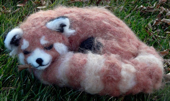 "Needle felted Red Panda ""Hirune"""