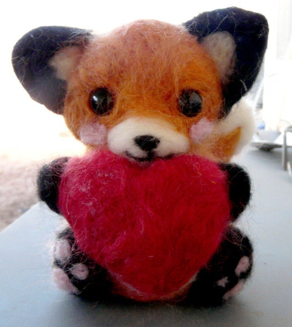"Needle Felted Fox Holding Heart ""Sweetie""-made to order"