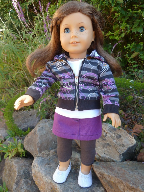 American Girl doll four piece casual outfit with purple denim