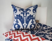 Duvet Cover with Decorative Throw Pillow - IKAT Marrakesh Batik Indigo and  Spice Orange - King - Queen or Twin